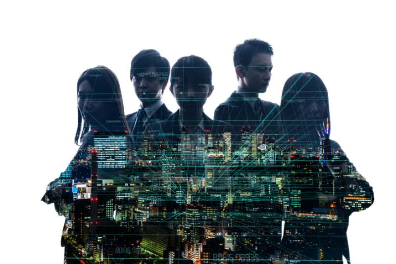 Group of businessperson and digital technology concept.