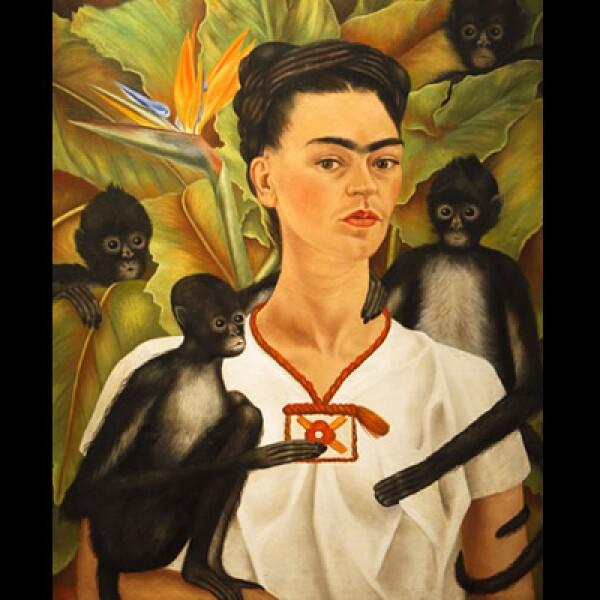 """Una famosa pintura de Kahlo, titulada """"Autorretrato con monos"""""""