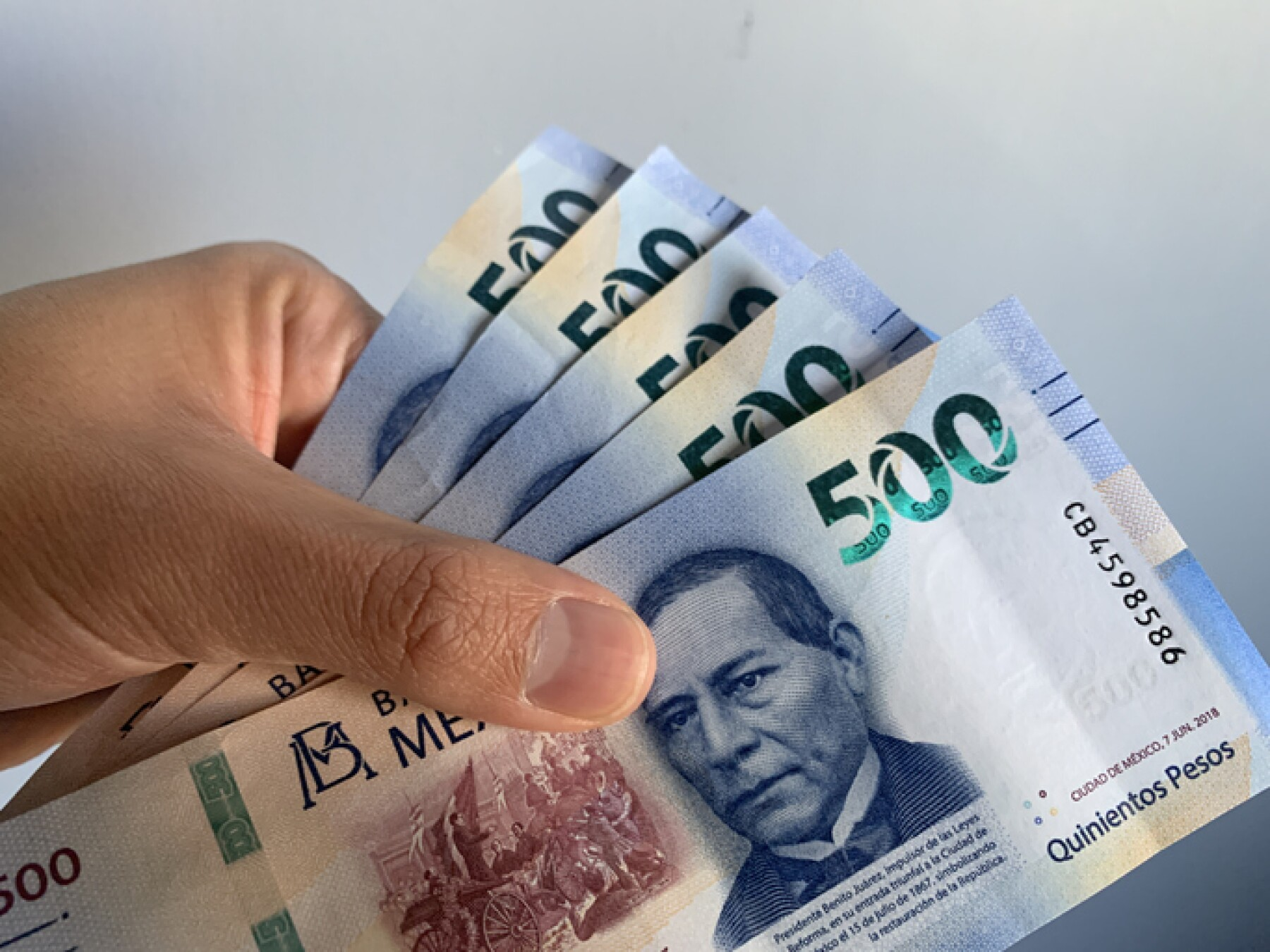 Hand holding mexican banknotes