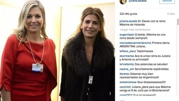 La reina de Holanda, Máxima Zorreguieta, y la nueva primera dama, Juliana Awada, se encontraron en Davos. Las miradas se centraron en su `duelo´ de looks.