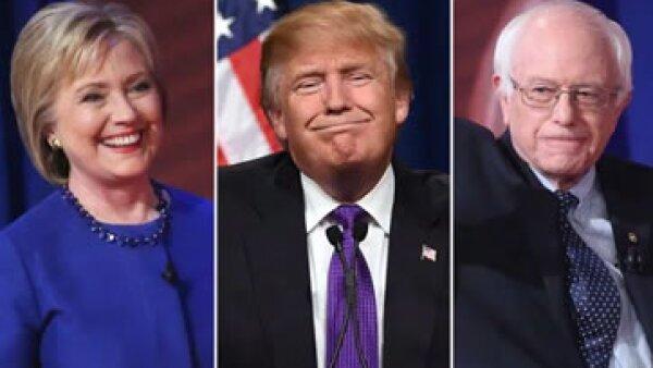 Hillary Clinton, Donald Trump (centro) y Bernie Sanders, tres de los aspirantes a la Casa Blanca. (Foto: Getty Images)