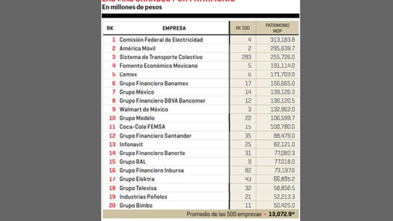 Comisión Federal de Electricidad y América Móvil son las compañías mexicanas más grandes de acuerdo a su patrimonio.