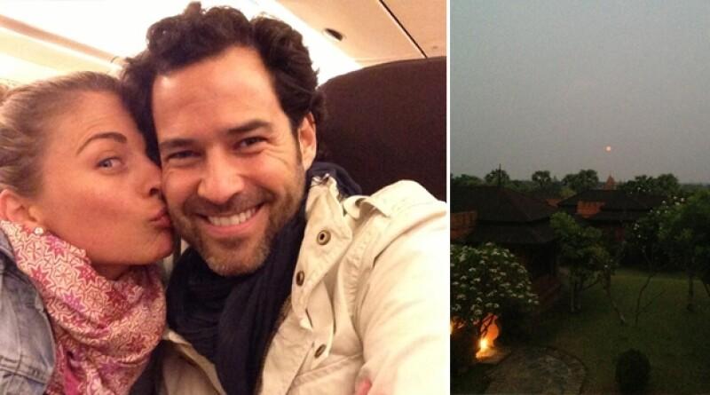 Ludwika y Emiliano en el avión rumbo a Singapour y al lado la imagen de un amanecer en Bagan, Birmania.