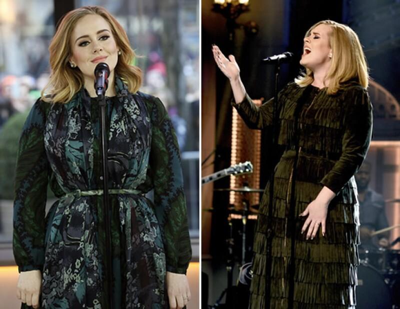 Adele llevó piezas de la colección FW15 de Burberry al Today Show y Saturday Night Live.