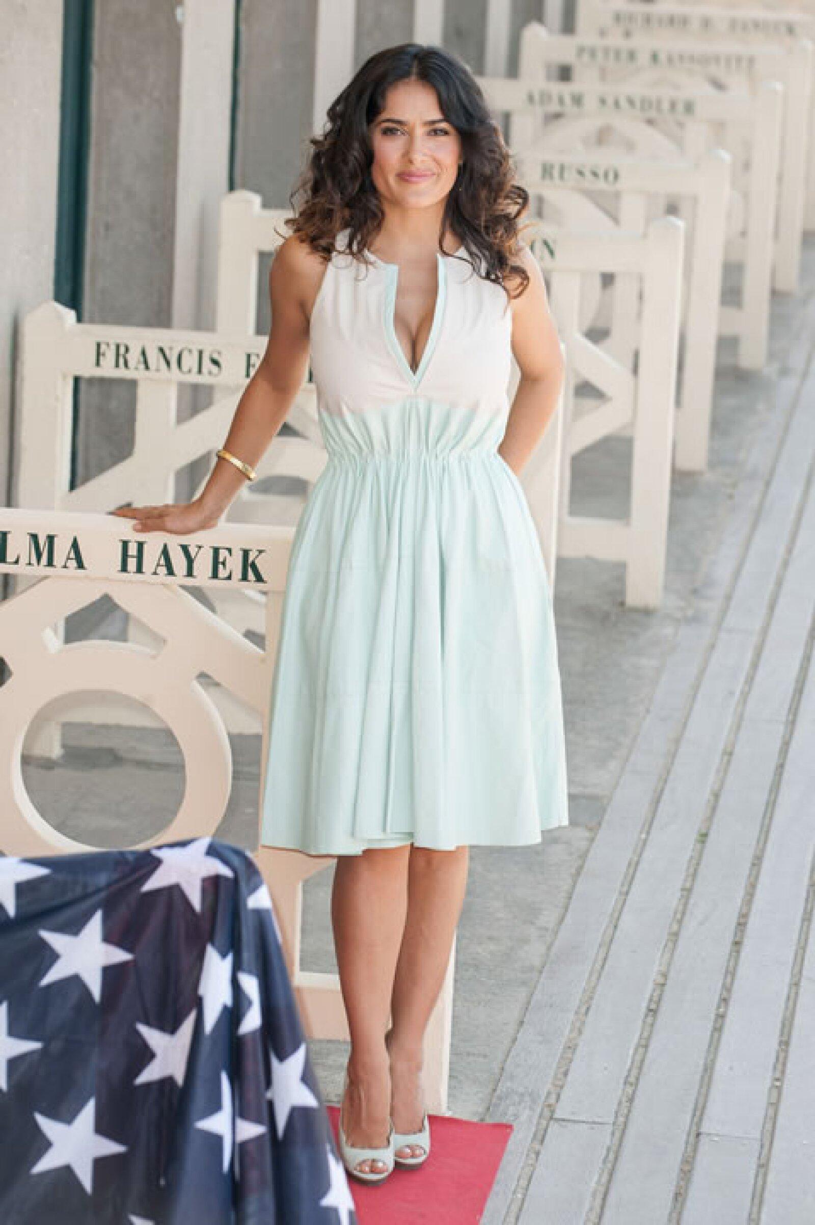 Para el festival de cine estadounidense Deauville usó un vestido muy primaveral en color menta de la creativa británica Stella McCartney.