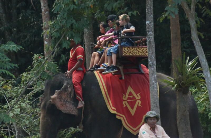 Sus hijos se separaron en varios elefantes para el recorrido, y en este aparece Shiloh.