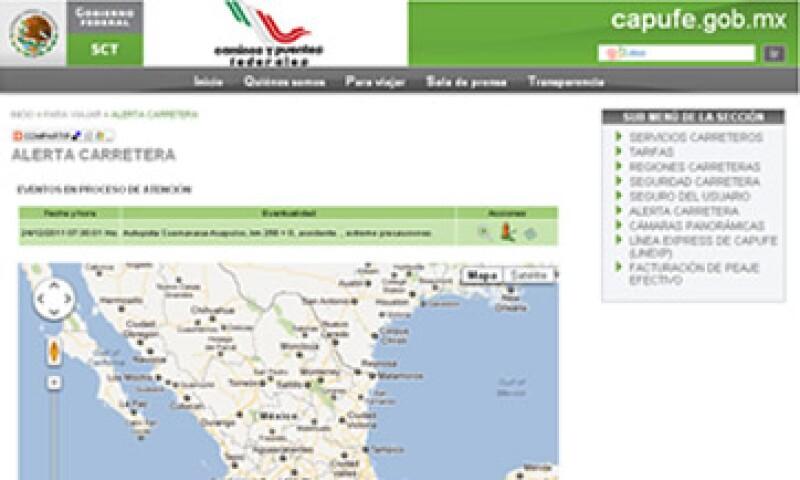 La información incluye tramos en mantenimiento o parcialmente cerrados y alternativas. (Foto: Imagen tomada de la página del Capufe)
