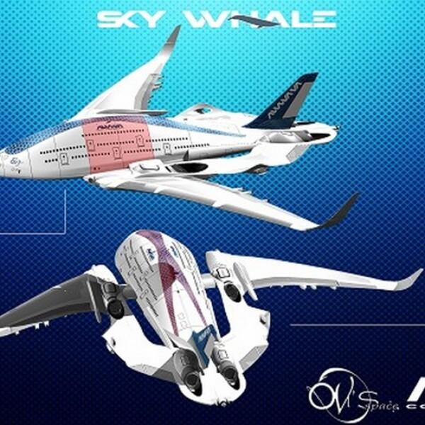 diseño del avion ecologico conocido como avion ballena