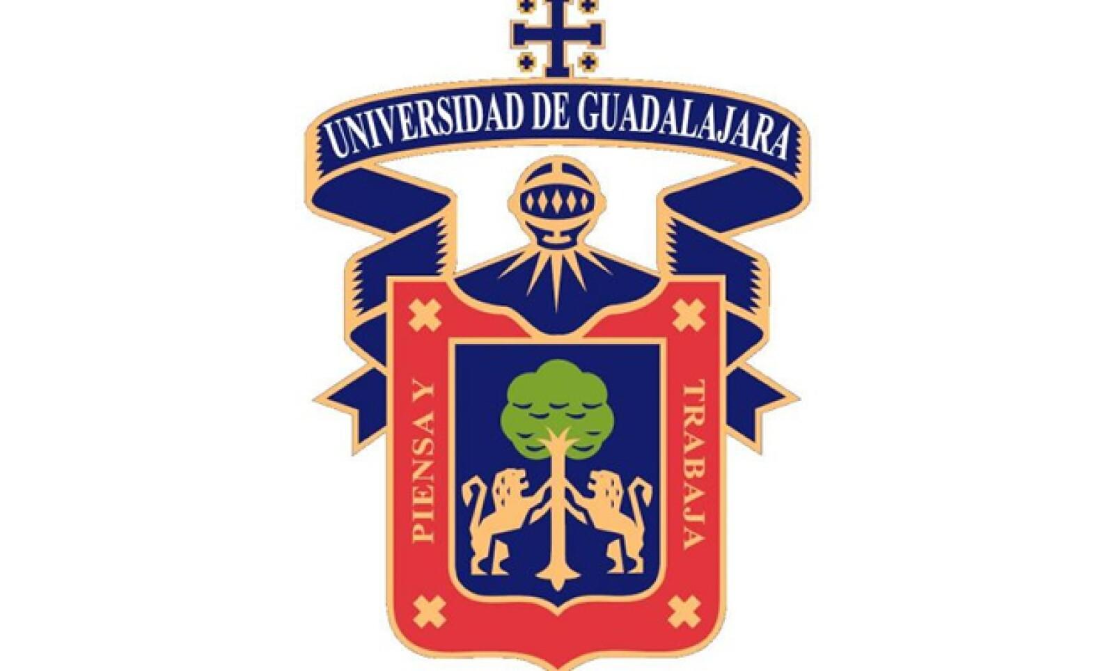 Éste es el escudo de la Universidad de Guadalajara, la cual es dirigida actualmente por el rector Marco Antonio Cortés Guardado.