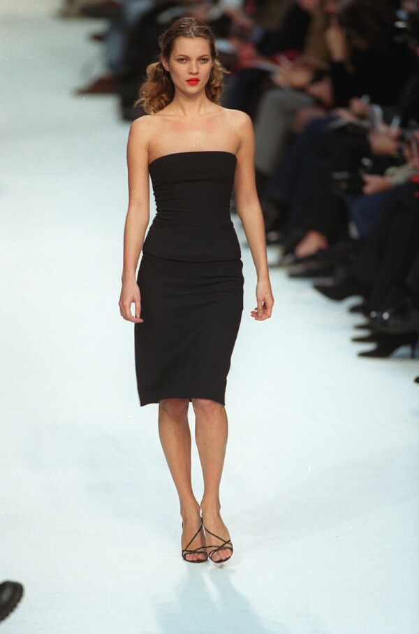 Kate Moss On The Catwalk During London Fashion Week. Cerruti Collection.