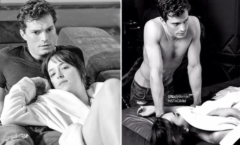 Los actores se muestran como Christian Grey y Anastasia Steele.