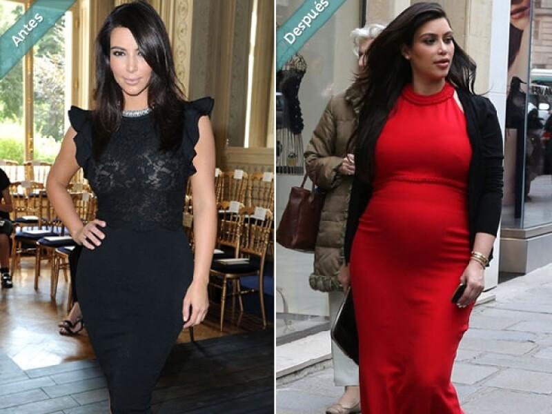 La figura de Kim ha cambiado como la de cualquier otra embarazada, pero por ser persona pública ella se ha preocupado bastante por su imagen.