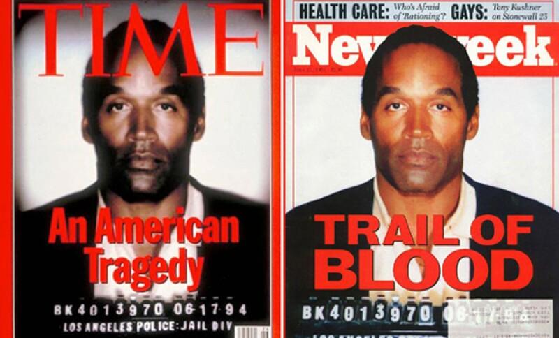 TIME publicó una foto en la que se había oscurecido la imagen de O.J y disminuido el tamaño del número de identificación como prisionero. Esta imagen apareció en todo E.U. junto a la portada de Newsweek, que no manipuló la fotografía original.