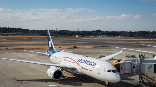 Aeromexico aircraft at Narita International Airport, Japan.