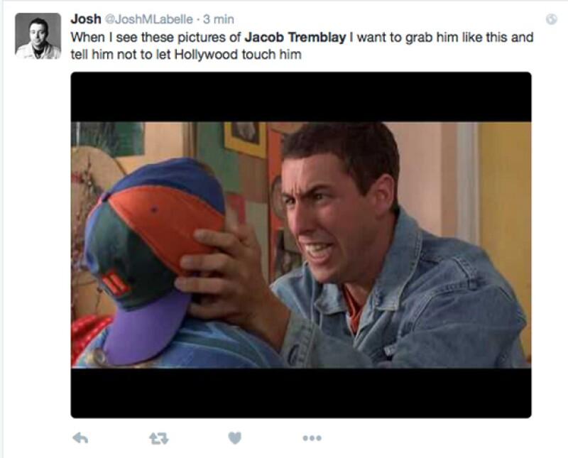 `Cuando veo estas fotos de Jacob Tremblay quisiera agarrarlo así y decirle que no permita que Hollywood lo toque´, lee uno de los comentarios que se compartieron en redes sociales.