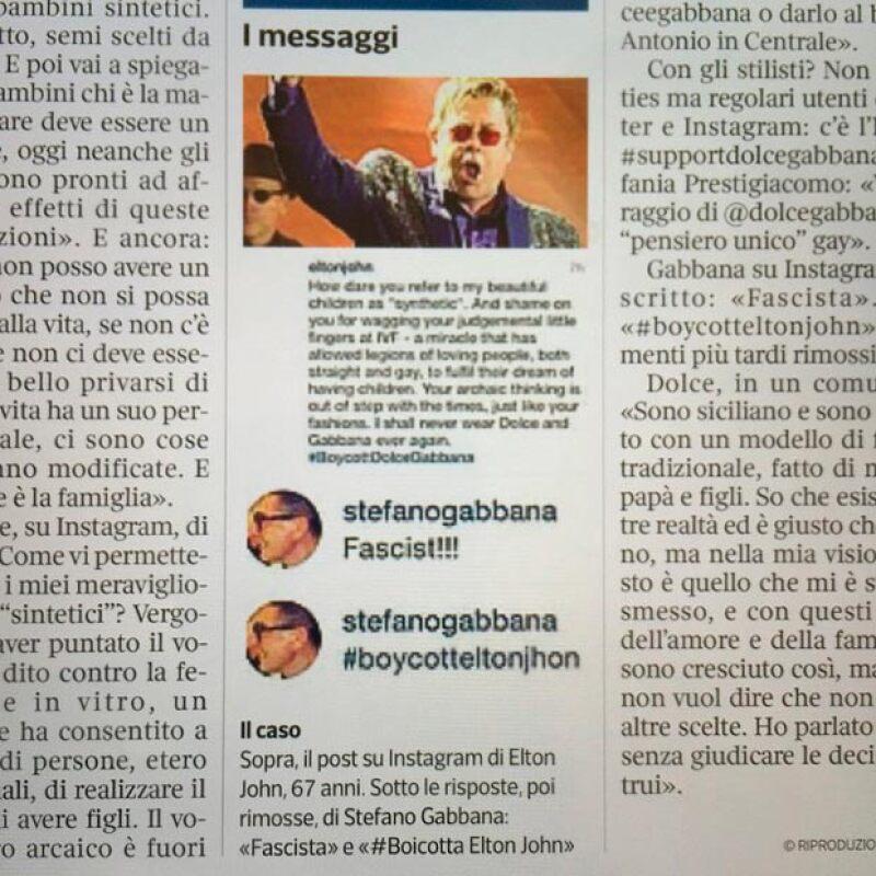 Desde hace varias horas Stefano ha publicado varias partes de periódicos en los que se oponen a la postura de Elton John.
