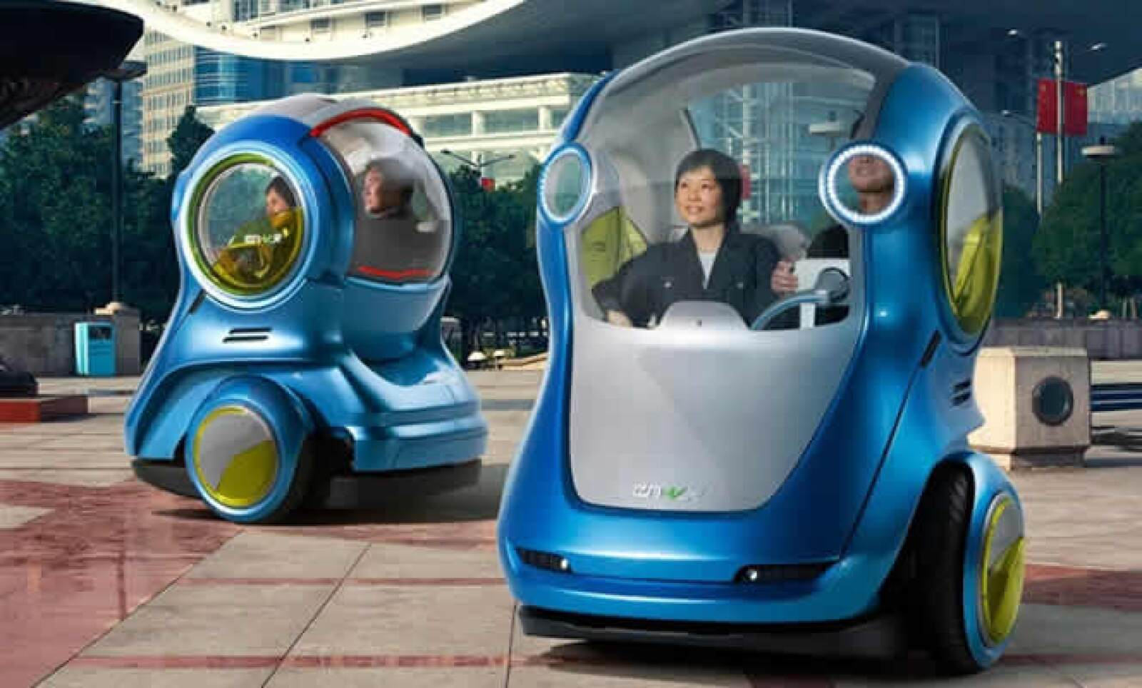 Según un estudio de General Motors, antes del 2030, las áreas urbanas albergarán a más del 60 por ciento de los 8.000 millones de personas del mundo. Por ese motivo, General Motors, presentó una nueva forma de vehículo llamado EN-V.