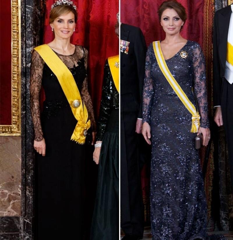 Angélica Rivera y Letizia de Asturias destacaron por su estilo en la visita de la familia presidencial a los todavía reyes de España, Juan Carlos y Sofía, en junio de 2014.
