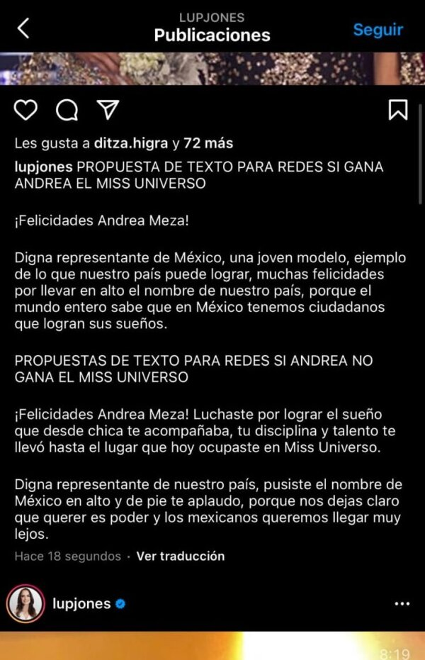 Message de Lupita Jones