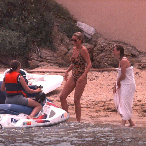 Princess Diana On Holiday In St.tropez.she Is Pictured Wearing A Leopard Print Swimsuit.