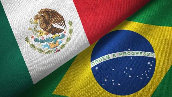 Brazil and Mexico two flags together textile cloth fabric texture