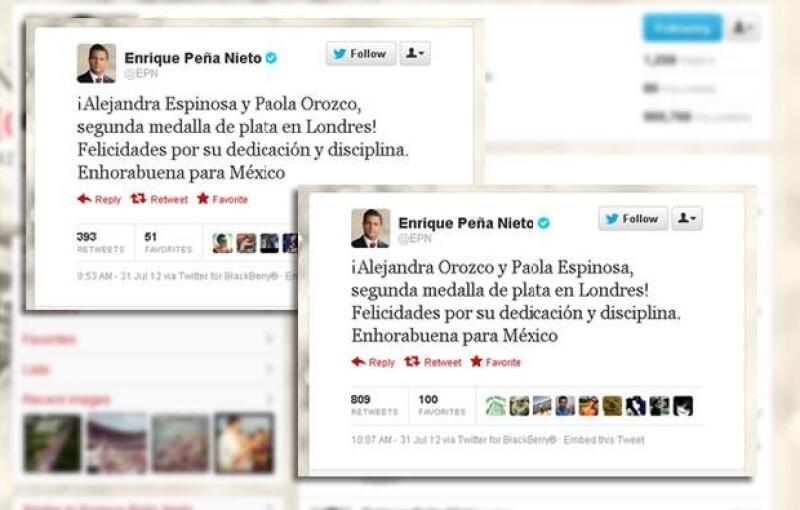 El ex Gobernador del Estado de México felicitó a las medallistas olímpicas por Twitter, sin embargo cometió un gran error con los nombres de las clavadistas.