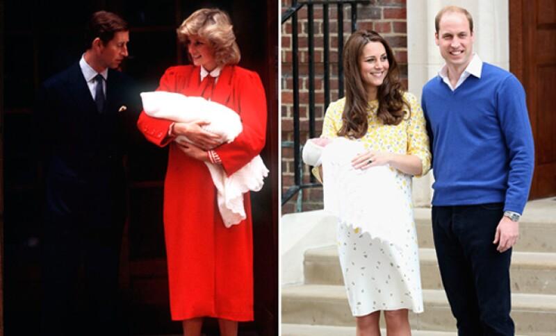 Lady Di en 1982 y Kate Middleton en 2013.