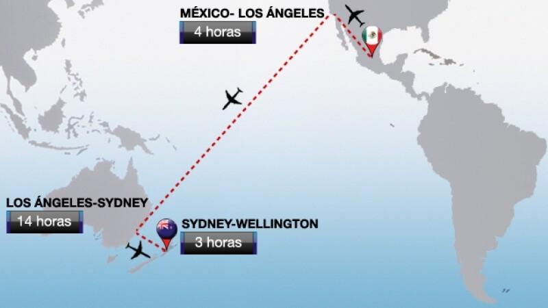 mapa viaje seleccion mexicana Nueva Zelandia