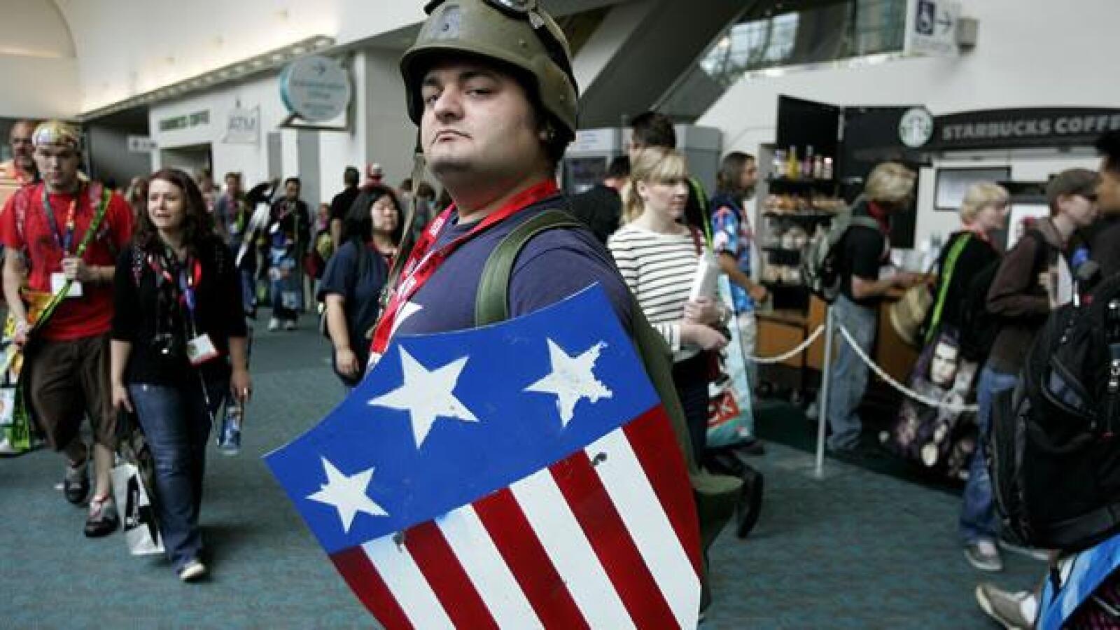 Un disfrazado del Capitán América