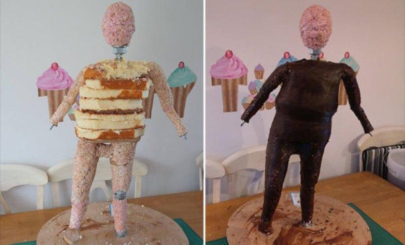 Así se veía la estructura del pastel.