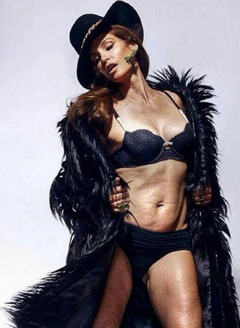Ante una imagen que la mostraba con la piel arrugada y sin tono, la modelo mostró, en el Instagram de su esposo, el verdadero cuerpo que tiene.