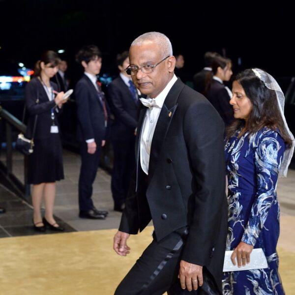 El presidente de Maldivas, Ibrahim Mohamed Solih, y su esposa Fazna Ahmed