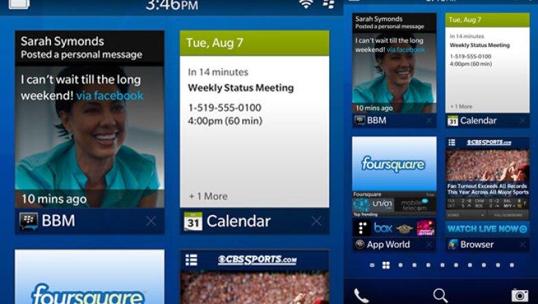 RIM presentó un adelanto visual de su nuevo sistema operativo BlackBerry 10. Esta será la pantalla de inicio de la mayoría de los equipos, con varias aplicaciones funcionando al mismo tiempo.