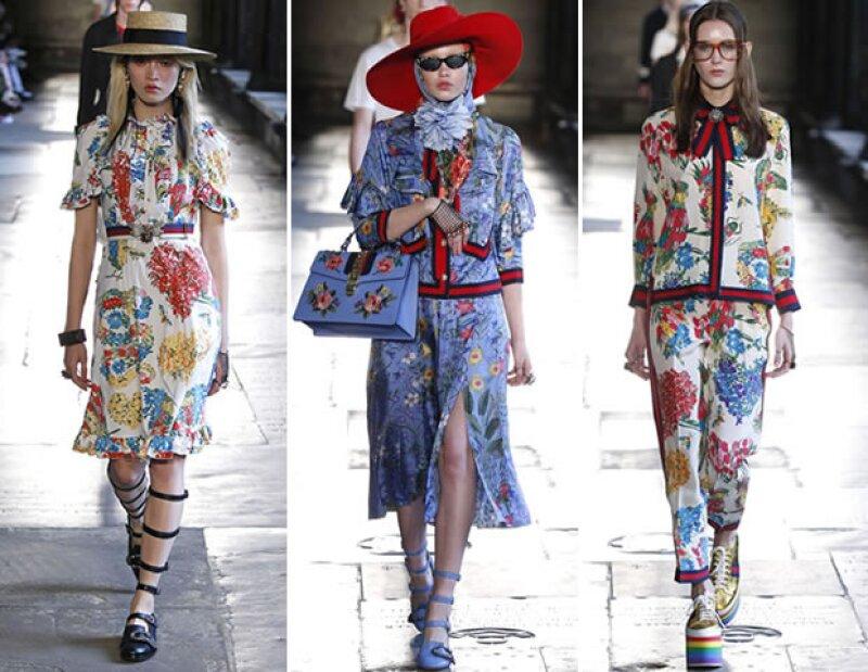 El estampado floral ya es un código de las piezas de Alessandro Michele para Gucci.
