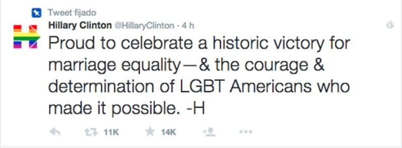 La candidata por la presidencia tuiteó y publicó un video sobre el orgullo gay.