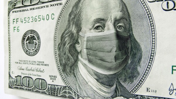 Ben Franklin wearing a Coronavirus Healthcare Mask on One Hundred Dollar Bill.