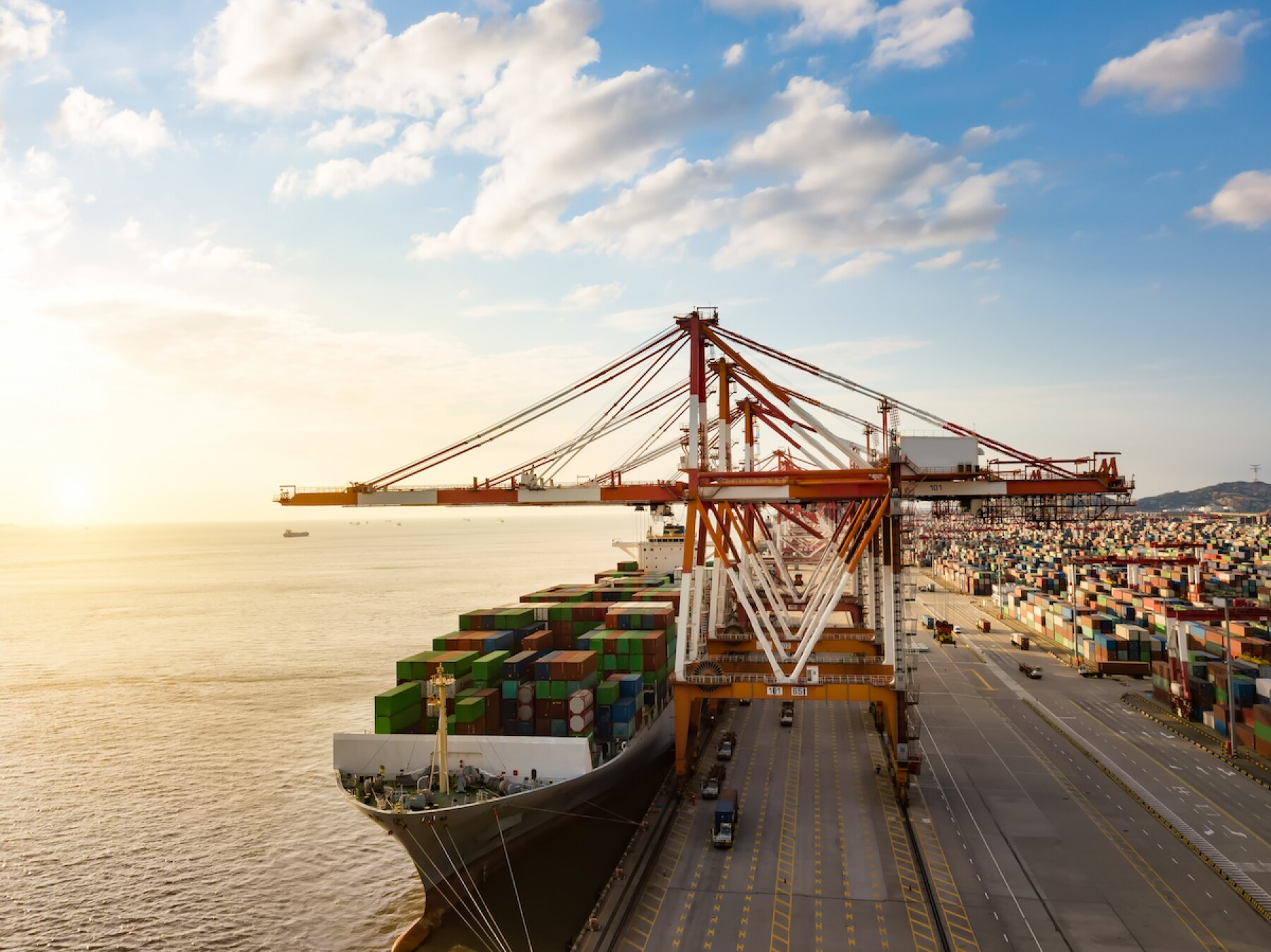 Container terminal handling area, aerial view