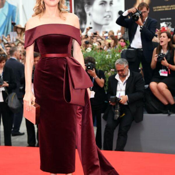 Diane Kruger llevó un impactante vestido de Boss en color marsala para la premiere de `Black Mass´.