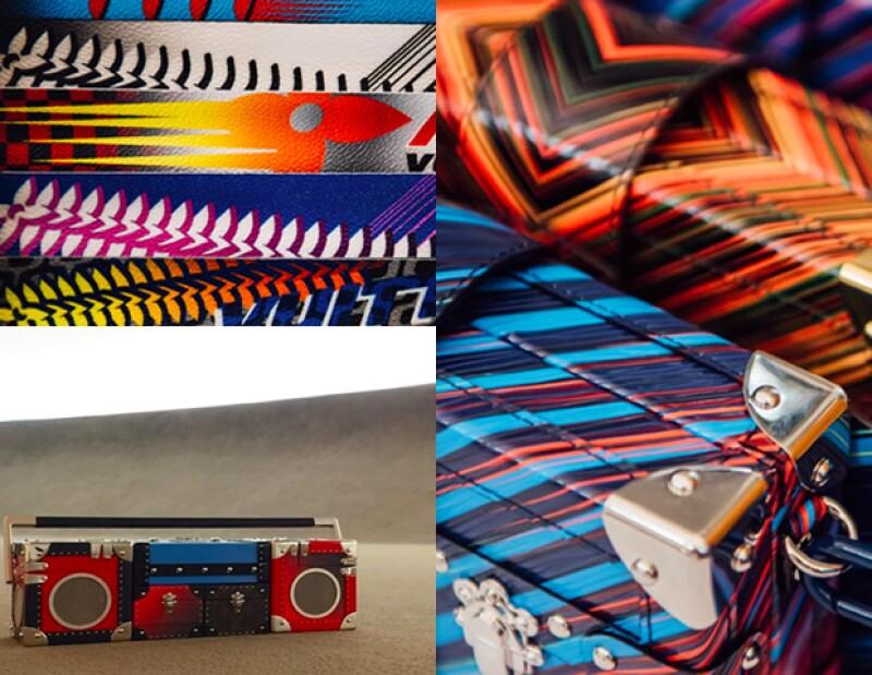 El monograma de la marca con colores, así como bolsas rígidas y hasta en forma de bocina.