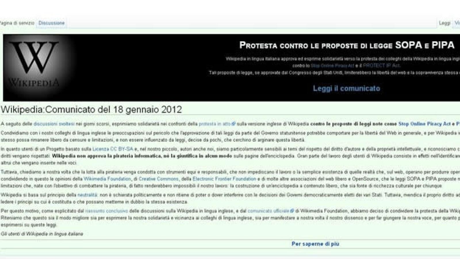 wikipedia italiano sopa apagon