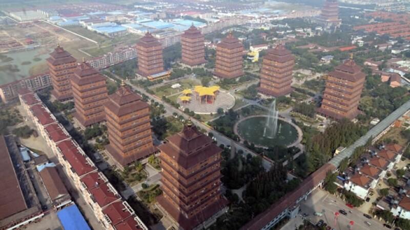 Vista panorámica de Huaxi, el pueblo más rico de China