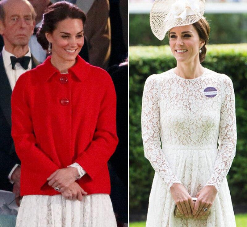 Usó el mismo vestido que portó para una de las celebraciones de la reina Isabel II, al cual combinó con un blazer rojo de Zara.