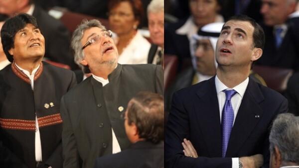Poco antes de la toma de posesión de Sebastián Piñera como el nuevo presidente de Chile, un temblor puso en alerta a algunos presentes, como al príncipe Felipe, a Evo Morales y Fernando Lugo.