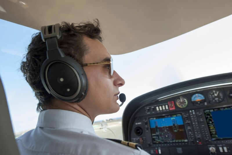Young pilot in a private plane