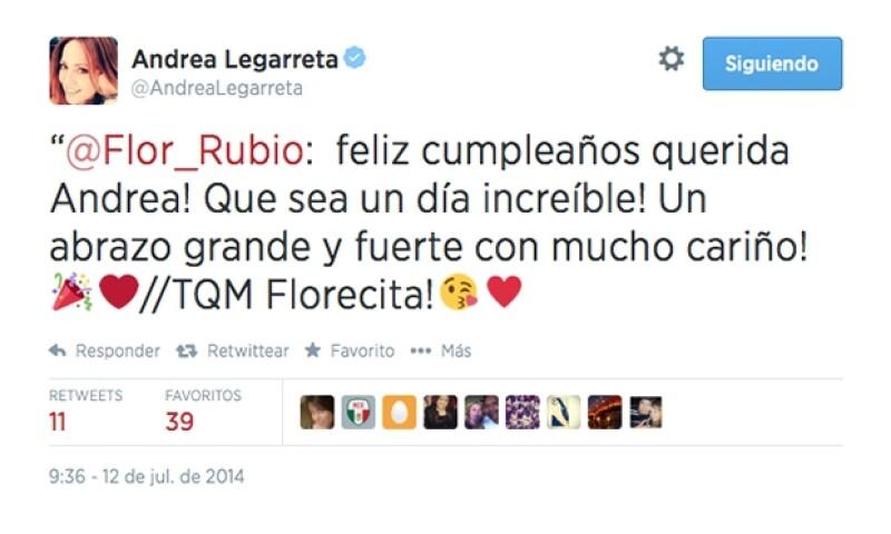 La también conductora Flor Rubio y su inseparable por muchos años en el pasado le escribió lo siguiente.