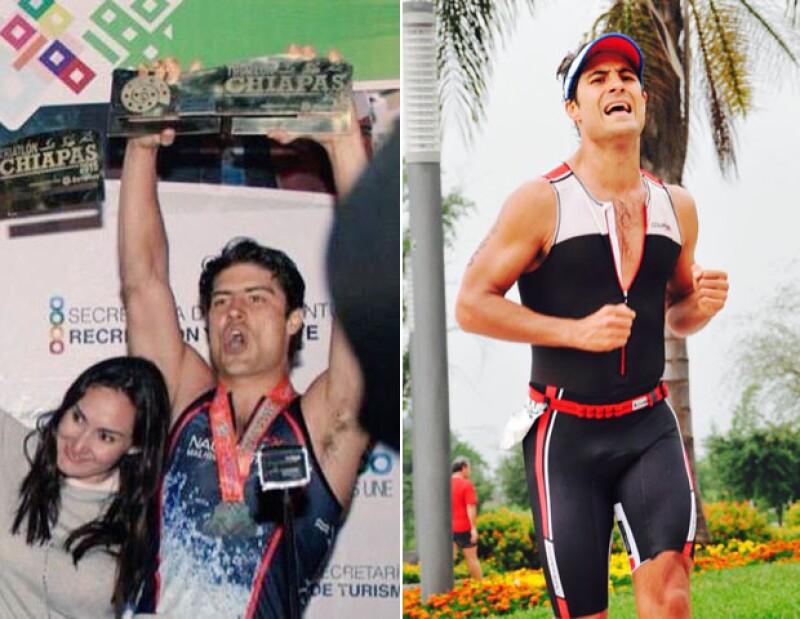 Alex compitiendo en los triatlones de Chiapas y Monterrey, respectivamente.