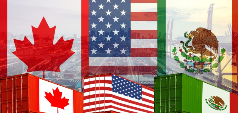Concept of USMCA or the new NAFTA United States Mexico Canada agreement, trade deal and economic dea