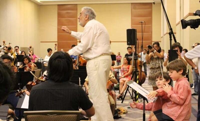 Plácido Domingo durante los ensayos.