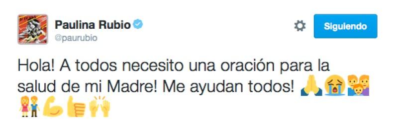 Este es el mensaje que Paulina Rubio escribió en Twitter pidiendo por la salud de su mamá, Susana Dosamantes.