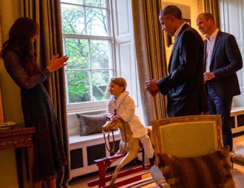 El pequeño príncipe lució adorable para conocer al presidente de Estados Unidos.
